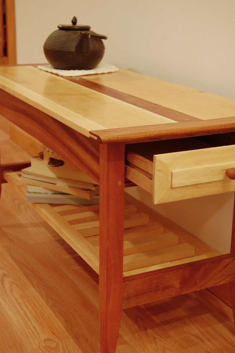 Custom Made Two Drawer Mahogany And Maple Coffee Table With Shelf