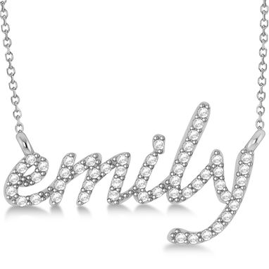Custom Made Personalized Diamond Name Pendant Necklace 14k Gold