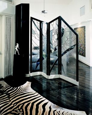 Custom Made Contemporary Folding Divider Screen In Stained Glass