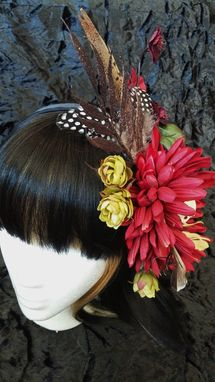 Custom Made Red Flower Bone Piece Hair Clip Hat Pin Burlesque Belly Dance