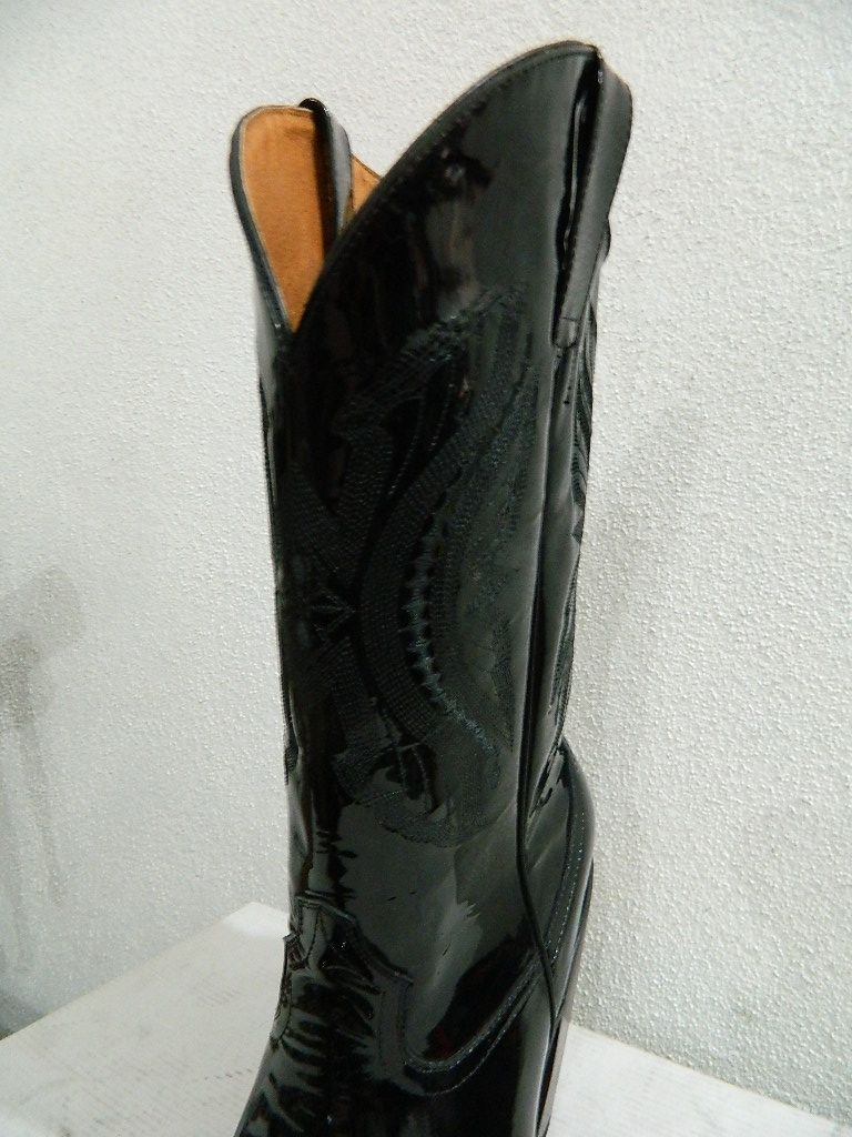 Custom Made Patent Leather Black Sharp Toe Cowboy Boots All Men