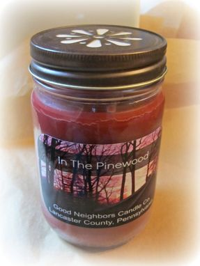 Custom Made Soy Candle, In The Pinewood, 12 Ounce Jelly Jar, Daisy Cut Lid, Red, Cotton Or Hemp Wick