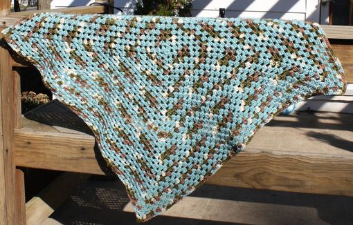 Custom Made Crochet Baby Blanket Granny Square Teal Blue Brown