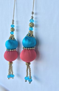 Custom Made Sky Blue,Pink Silk Fabric Balls With Golden Beads.