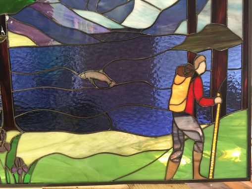 Custom Made Original Backpacking & Lake Stained Glass Window