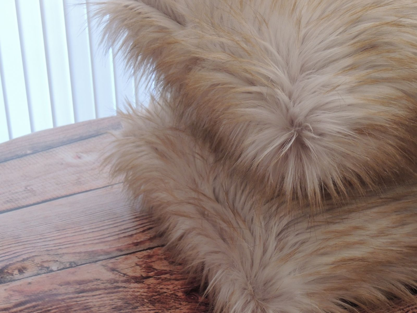 Hand Crafted Blonde Fox Faux Fur 18 X 18 In Decorative