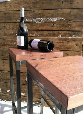 Custom Made Reclaimed Oak Top Barstools With Raw Metal Base