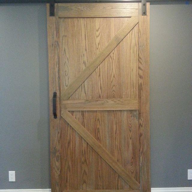 Handmade Distressed Red Oak Barn Door Slider By Ajc Woodworking