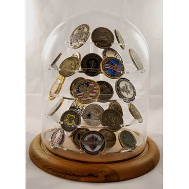 Custom Made Challenge Coin Display, Glass Dome Coin Display