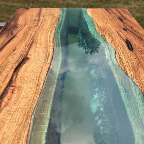 Custom Rustic Live Edge Dining Table With Glass Accent By