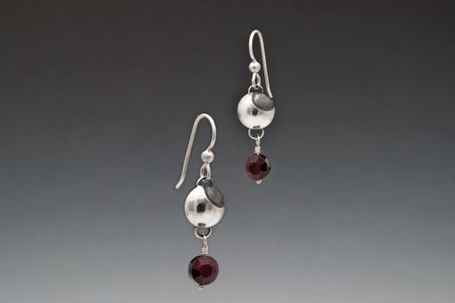 Custom Made Silver Moon Dangles With Faceted Garnets