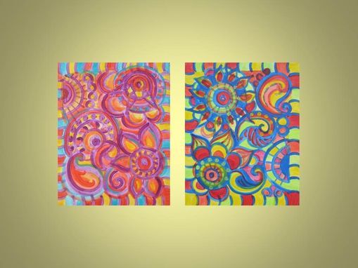 "Custom Made Paisley Painting Original Abstract 8""X10"" Blue Red Green Yellow Abstract Painting"