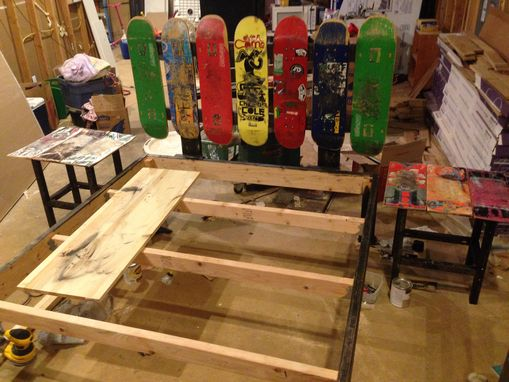 Custom Made Upcycled Skateboard Headboard And Queen Bed Frame