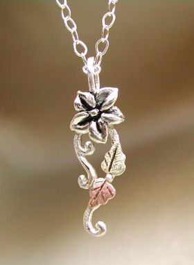 Custom Made Black Hills Gold On Silver Wild Berry Flower & Branch Pendant
