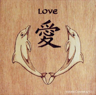 Custom Made Feng Shuiwood Burned Wall Hanging 'Love' (Pyrography)