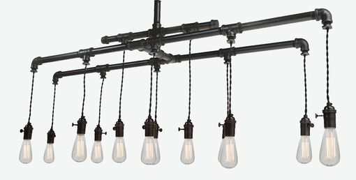 Custom Made Industrial Pipe Edison Chandelier With 12 Bulbs