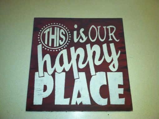 Custom Made This Is Our Happy Place Hand Painted, Welcome Sign, Home Decor 12 X 12 In. Wood Porch Sign.