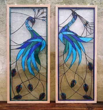 Custom Made Stained Glass Panels Quot Iridescent Peacock Quot P