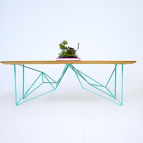 The Yoshi Modern Walnut Coffee Table Geometric Steel Base Midcentury By Robert
