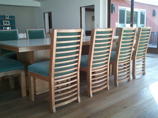 Custom Made Comtemporary Upholstered Wood Dining Chairs
