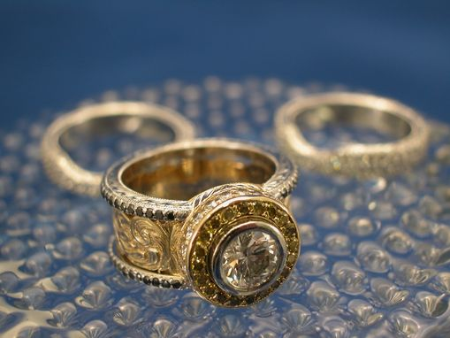 Custom Made Platinum And 18kt Yellow Gold Engagement Ring And Wedding Bands