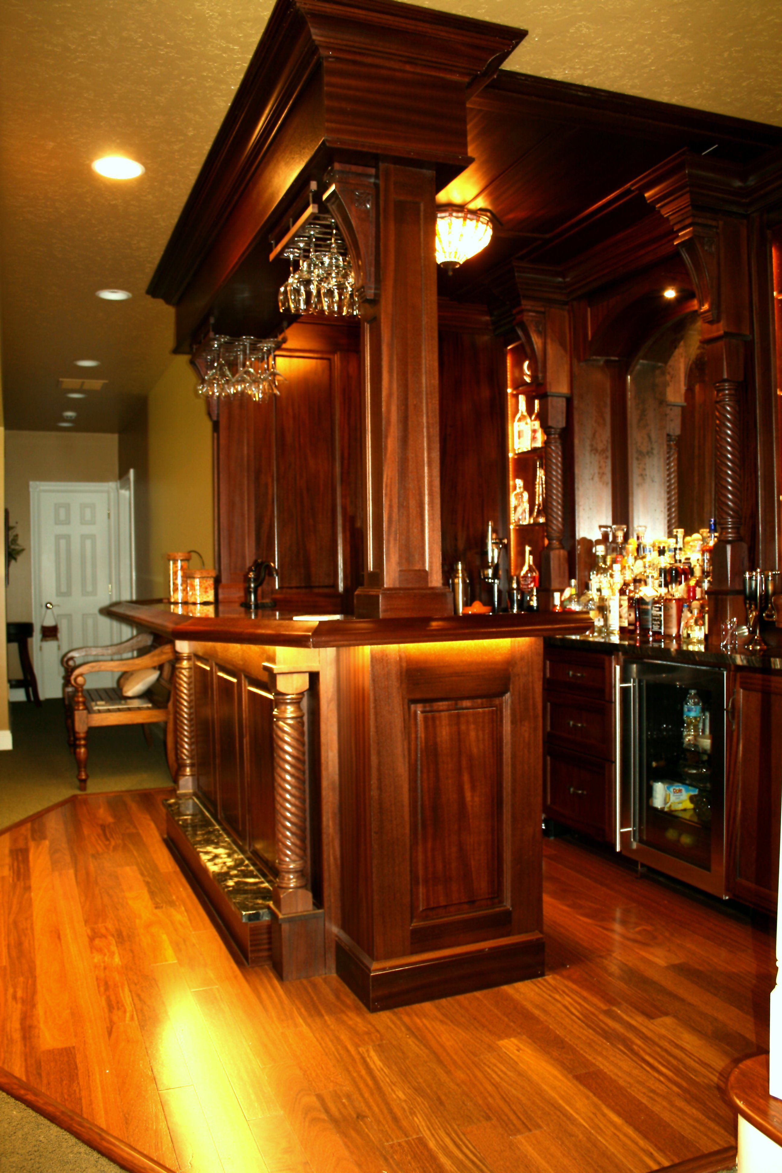 Hand Crafted Custom Mahogany Pub Style Bar By Shadowhill