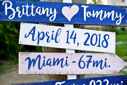 Custom Made Nautical Beach Directional Sign, Wood Arrow Signage For Wedding