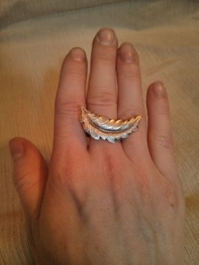 Custom Made Fine Silver Feather Ring