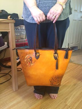 Custom Made Leather Zipper Tote Handbag