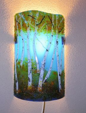 Custom Made Aspen Grove Fused Glass Wall Sconce
