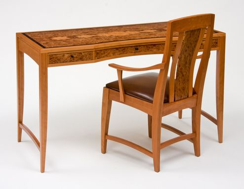 Custom Made Cherry And Carpathian Elm Desk Writing Desk And Chair