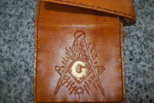 Custom Made Custom Leather Deluxe Moneyclip Wallet With Masonic Symbol And Goldleafing
