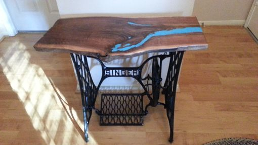 Custom Made Live Edge Walnut Entry Table With Turquoise Inlay On Singer Base