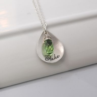 Custom Made Personalzed Mommy Necklace With Wire Wrapped Briolette Crystal