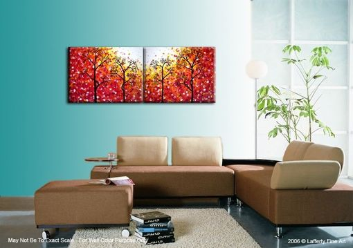 Custom Made Original Abstract Large Painting, Contemporary Fine Art, Modern Red Yellow Acrylic Trees, Landscape