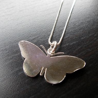 Custom Made Sterling Silver Butterfly Sillhouette Pendant