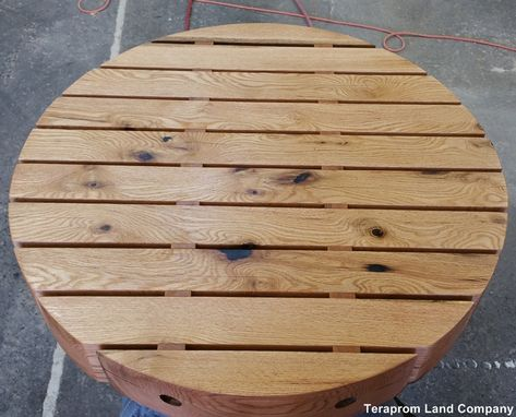 "Custom Made Custom 34"" Round Oak Beam Table Top"