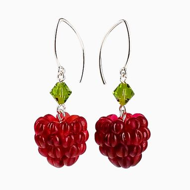 Custom Made Glass Red Raspberry Earrings With Swarovski Elements Crystals