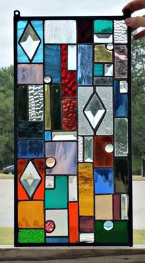 Custom Made Stained Glass Panel - Colorful Textures And Bevels G-15)