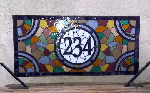 Custom Made Stained Glass Window Panel / Colorful And Contemporary Transom With House Numbers (Am-23)