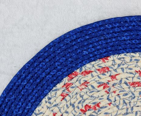 Custom Made Fabric Placemat Set (4) Patriotic - Fabric Wrapped Clothesline - Coiled