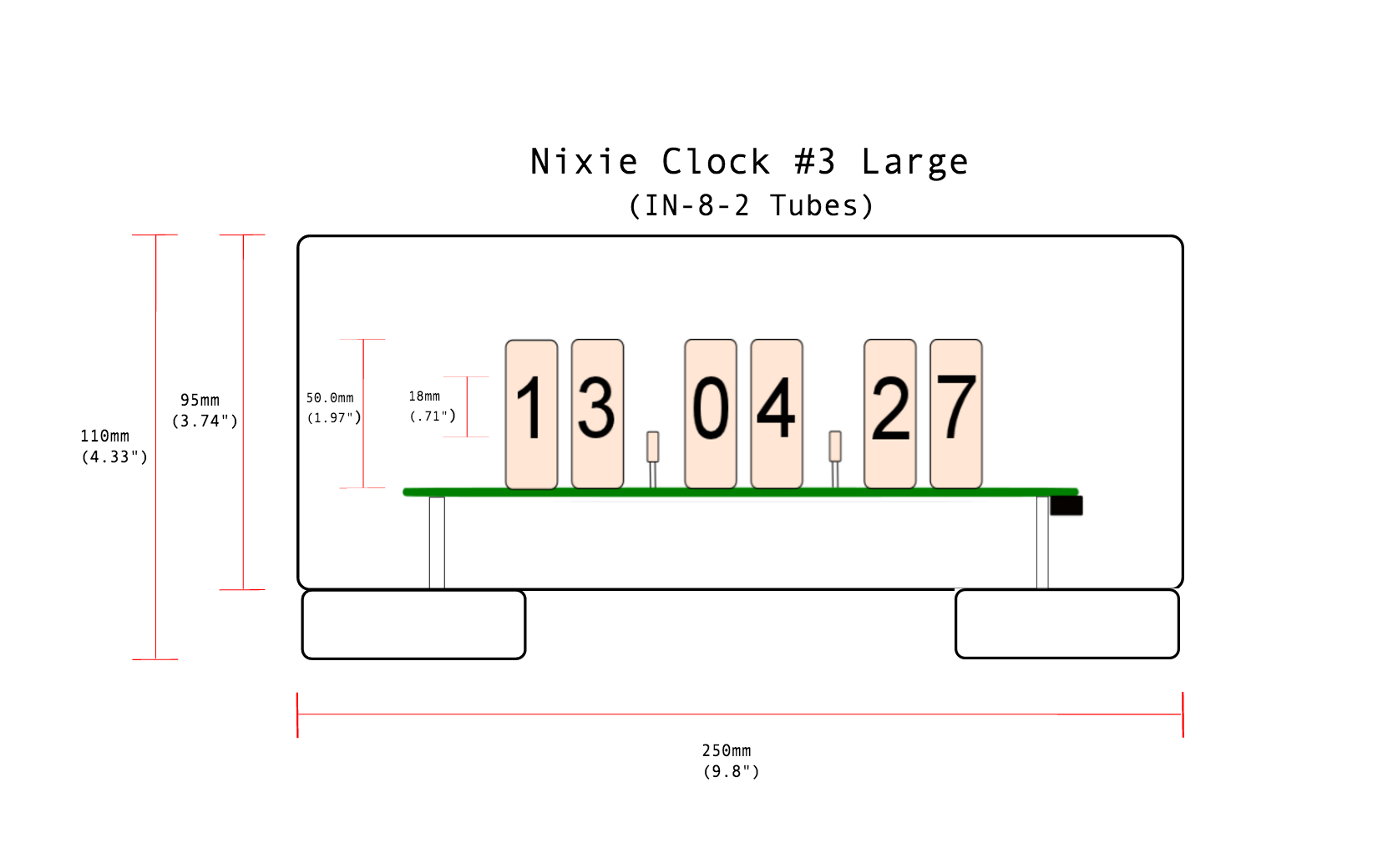 Buy A Custom Made Glass Nixie Clock In 8 2 Model To Order From Circuit Diagrams Cold War Creations