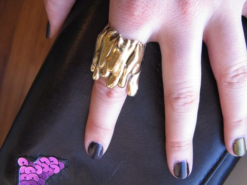 Custom Made Gold Bronze Drip Cocktail Ring