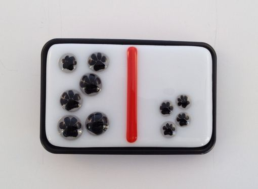 Custom Made Little Paw Prints Small Fused Glass Belt Buckle