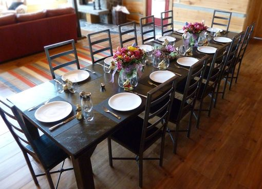 Custom Made Iron & Wood Dining Table And Chairs