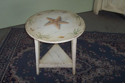 Custom Made Hand Painted Seascape End Table
