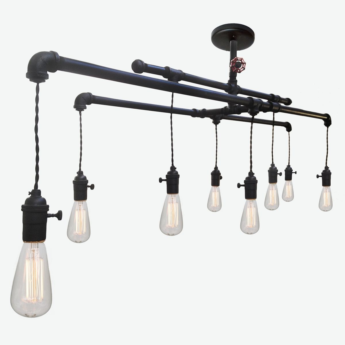 Hand Made Barn Metal Industrial Custom Pipe And Cloth Cord - Custom bathroom light fixtures
