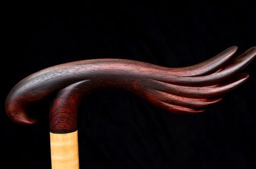 Custom Made Handmade Bird Of Prey Walking Cane In East Indian Rosewood, Ebony, And Curly Maple