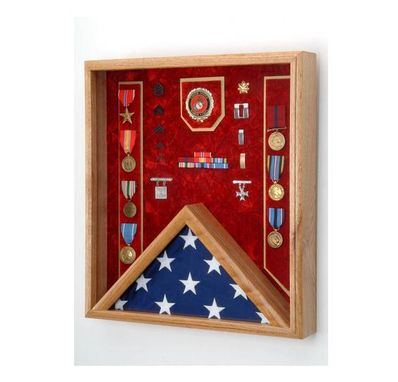 Custom Made Fireman Flag And Medal Display Case- Shadow Box