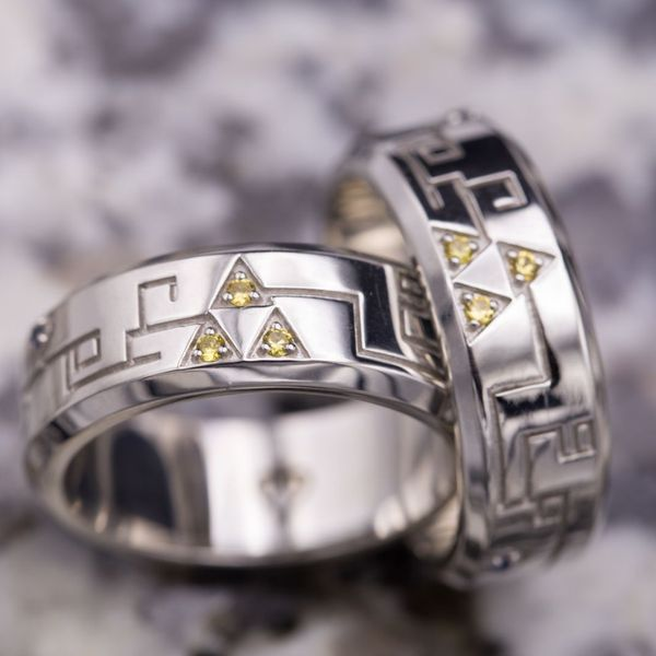 nerdy wedding mental article of engagement floss rings geeky speaking